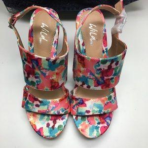 Wild Pair Floral Leona Open Toe Cork Wedge Sandals